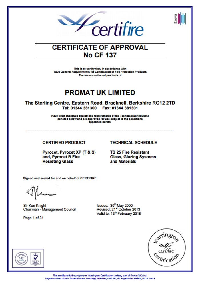 Promat-UK-Ltd-Certificate-CF137