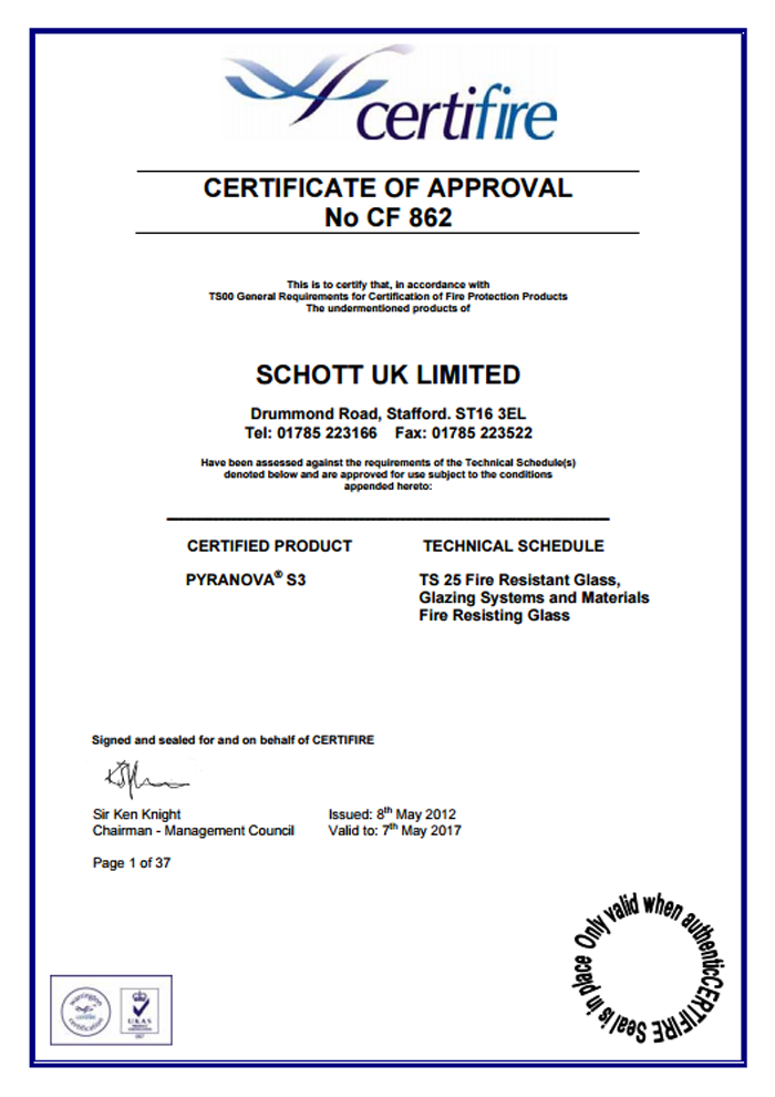 Schott UK Limited Certificate CF862