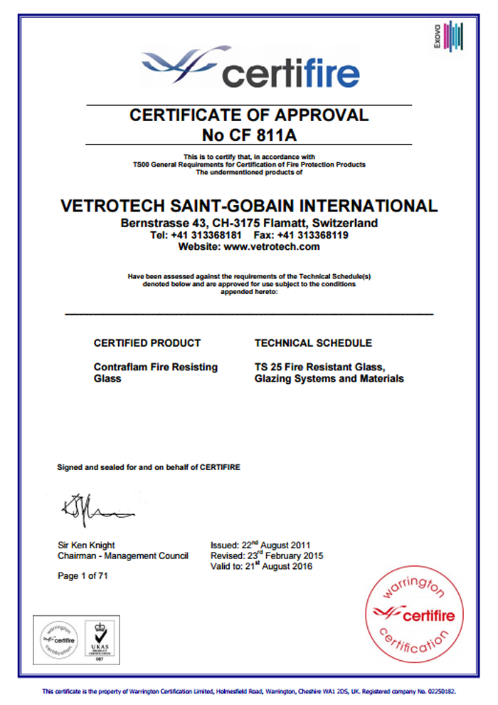 vetrotech saint gobain international certificate cf811a performance glass. Black Bedroom Furniture Sets. Home Design Ideas